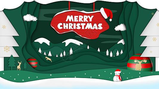 圣诞节剪纸风插画图片