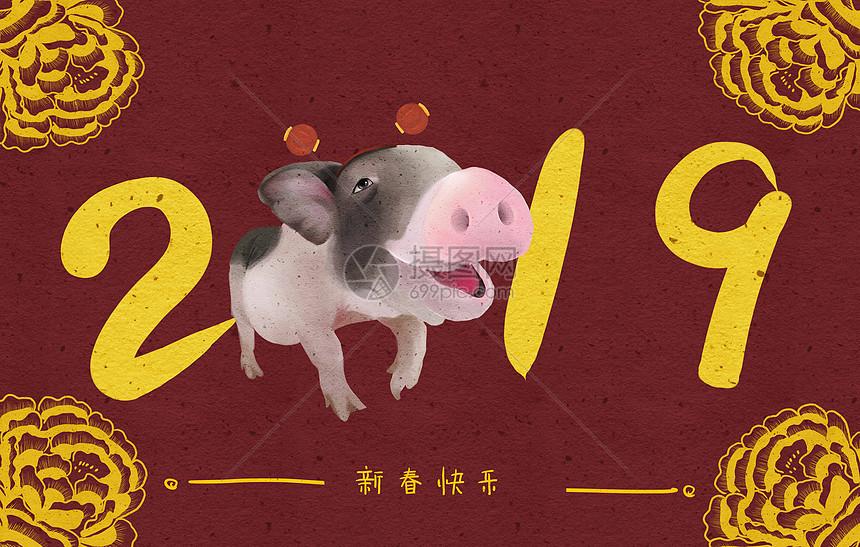 2019新春猪图片