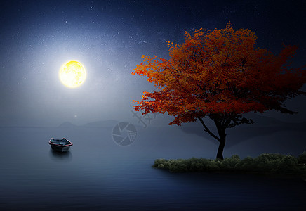 夜晚宁静湖面图片