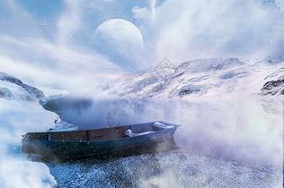 风雪中的小船图片