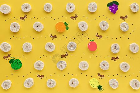 勤劳的蚂蚁找食物图片