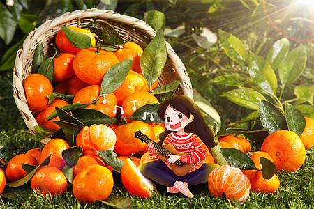 橘子堆里弹琴的女孩图片