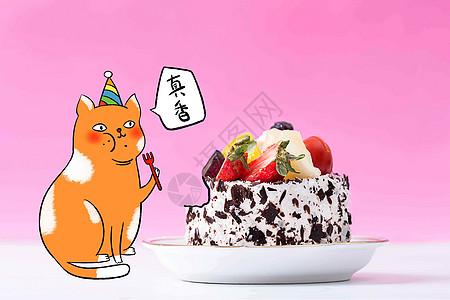 创意猫咪吃蛋糕图片