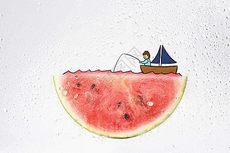 创意西瓜湖上钓鱼的男孩图片