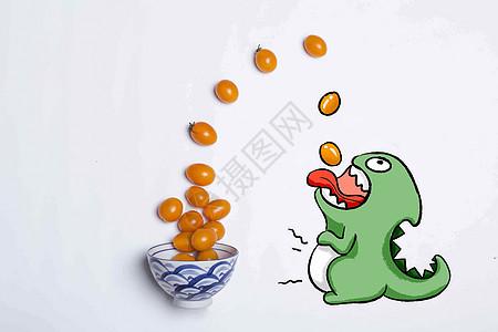 创意小恐龙吃番茄图片