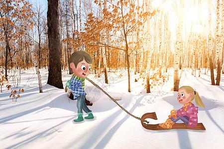 冬季森林滑雪图片