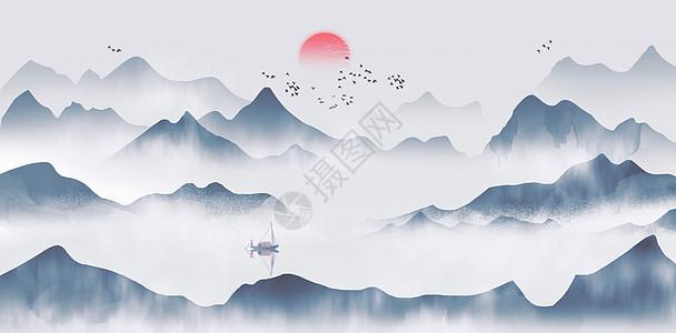 山中国风水墨水画图片