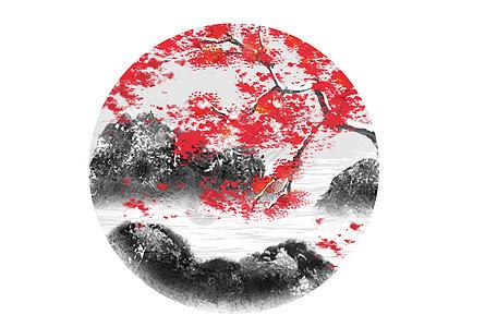 二十四节气之冬季水墨山水画梅花插画图片