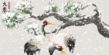 大寒节气中国风水墨画图片