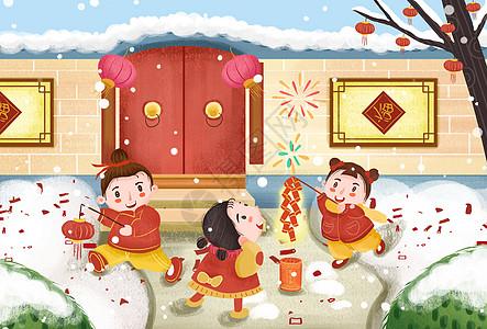 卡通中国风除夕放鞭炮插画图片