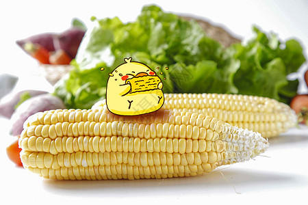 创意小鸡吃玉米图片