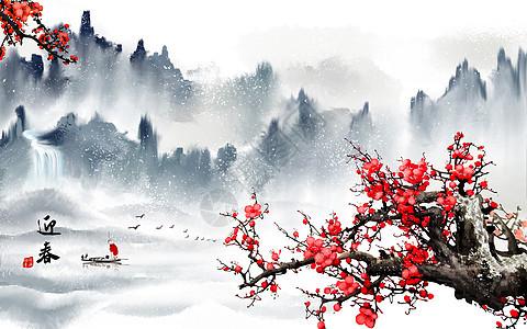 红梅迎春图片