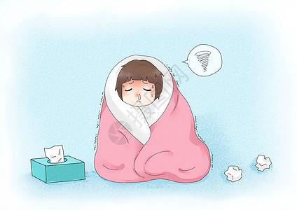 感冒女孩图片