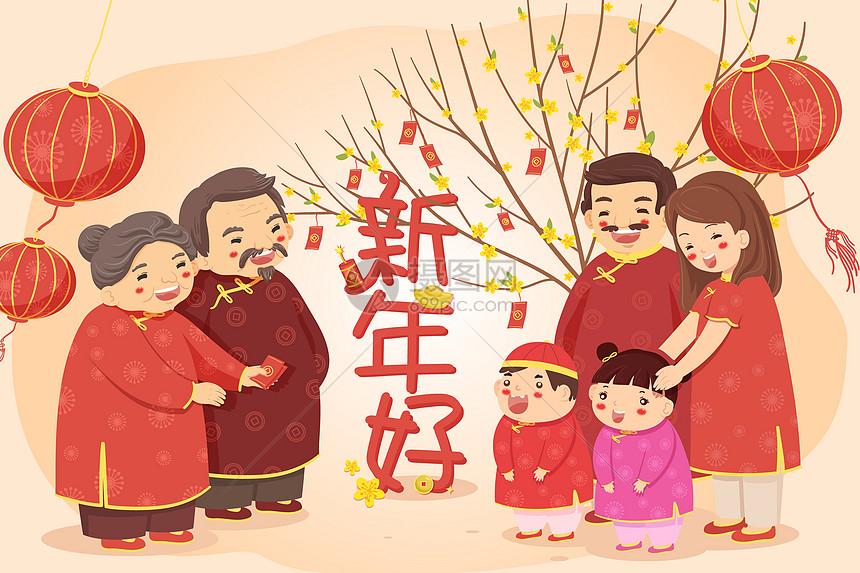 中国春节习俗_中国习俗新年拜年插画图片下载-正版图片400953799-摄图网