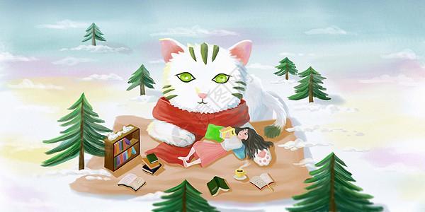 猫与女孩图片