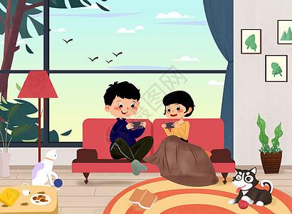 情侣居家生活插画图片