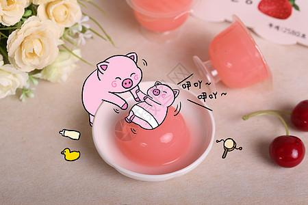 在布丁上玩耍的猪宝宝图片
