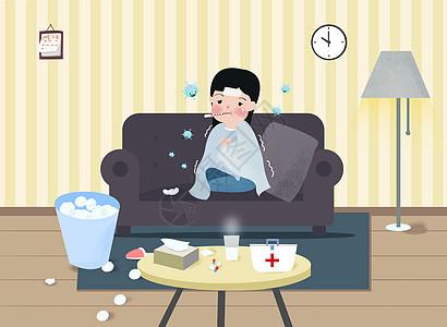 冬季流感感冒插画图片