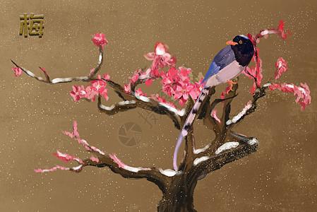 梅与鸟图片