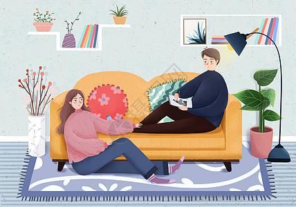 情侣居家生活图片