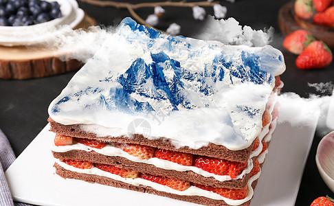 雪山蛋糕图片