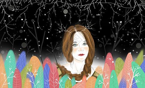 冬季森林灵气少女图片