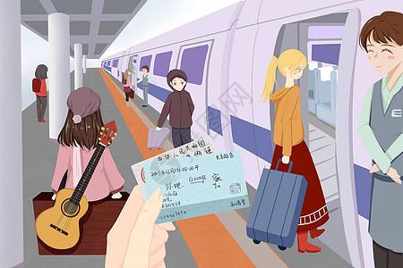 回家的列车插画图片
