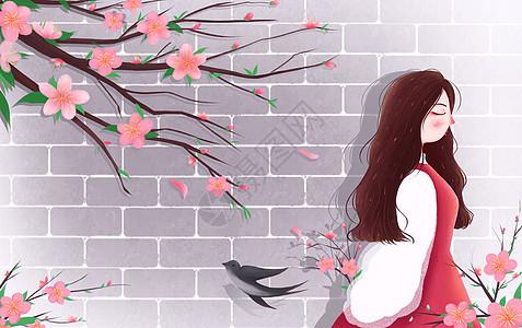 唯美治愈立春插画图片