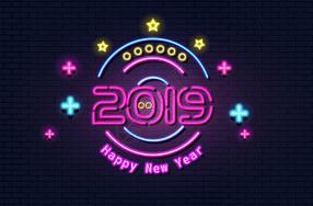 2019数字霓虹字图片