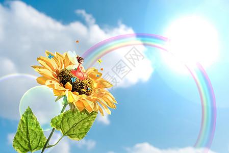 创意阳光彩虹向日葵图片