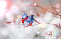 冬天树枝上的小鸟图片