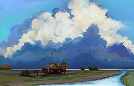 河边牧场图片
