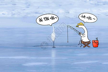 冰湖上钓鱼的白鹭图片