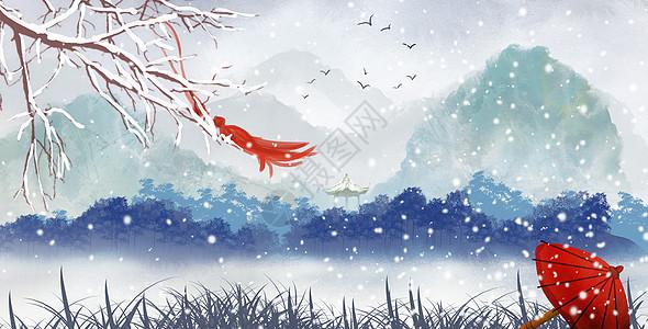 古风冬季场景图片