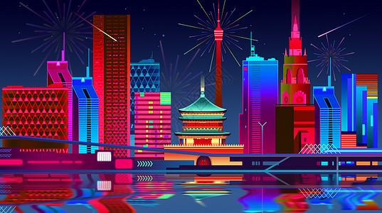 古城新年夜景图片