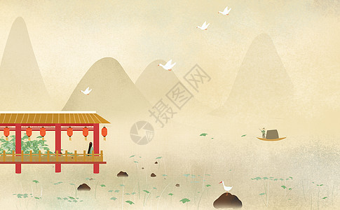 古风山水女子站立于湖边亭子等船手绘插画图片