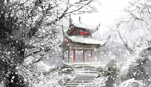 冬季雪景凉亭图片