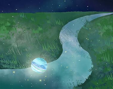 小清新蓝色星球躺stay草原中间的河流手绘插画picture