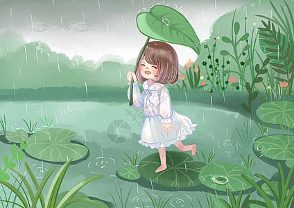 雨水踏青时节图片