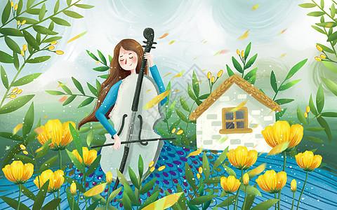 拉大提琴的女孩图片