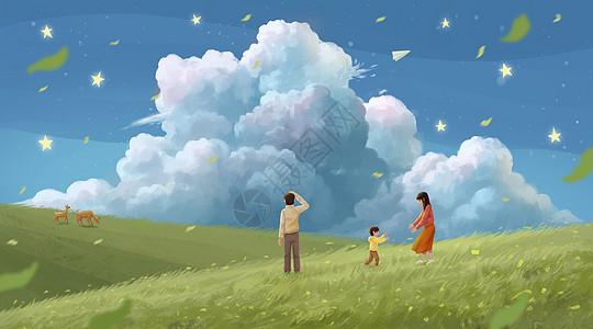 春天一家人旅行踏青图片