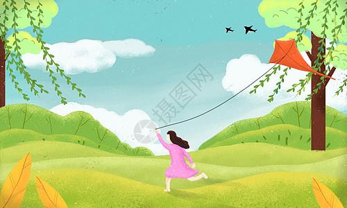 春天女孩放风筝插画图片