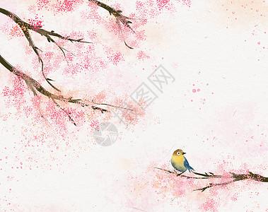 粉色小清新水彩樱花春天手绘插画图片