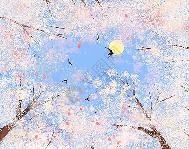 粉色小清新蓝天樱花满树春天手绘插画图片