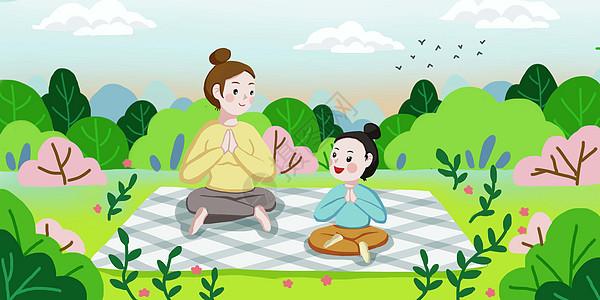 母女春天练瑜伽图片
