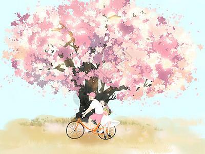 小清新风格一起看樱花图片