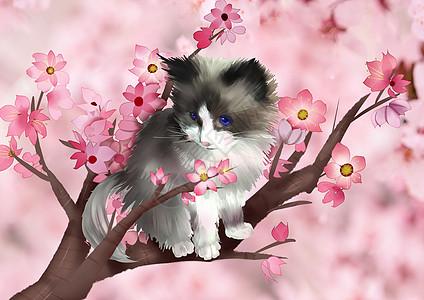 春天可爱动物猫咪手绘图片