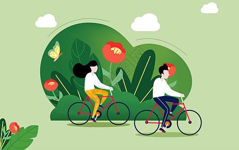 春季骑车运动图片