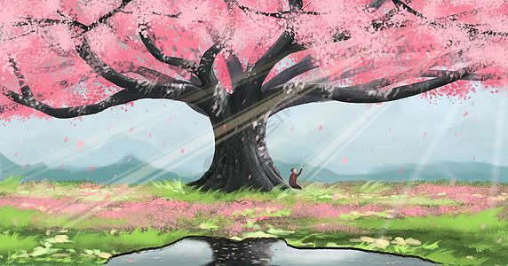 春天樱花树下图片
