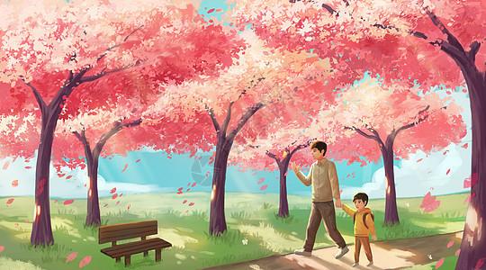 樱花树下漫步的父子图片